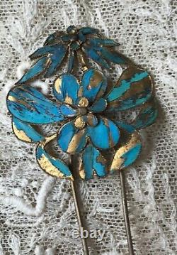 Antique Chinese Qing gold wash silver kingfisher hairpin hair ornament