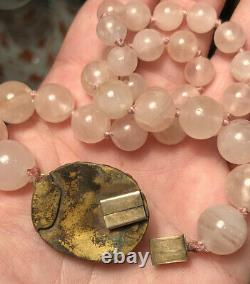 Antique Chinese Rose Quartz Necklace with Silver Gilt Clasp with Bats & Carved Stone