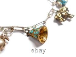 Antique Chinese Silver And Gold Charm Bracelet AF
