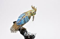 Antique Chinese Silver Enamel Filigree Gold Gilt Bird Gemstone Eyes Wood Base