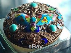 Antique Chinese Silver Enamel Turquoise Brooch Pin Deco Gold Wash Gilt Filigree