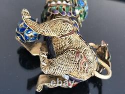 Antique Chinese Silver Filigree Enamel Foo Dog Figure with BallGold Wash45gr 3