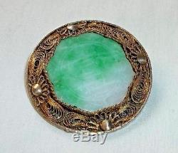 Antique Chinese Silver Filigree Gilt Jadeite Jade ROUND BROOCH Pin