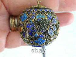 Antique Chinese Silver Gilt Enamel Filigree FISH 23 Bead Necklace 29mm