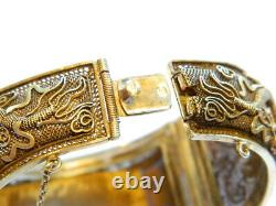 Antique Chinese Silver Gilt Filigree Carved Dragon Cuff Bracelet 7 in