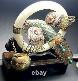 Antique Chinese Silver Gilt Filigree Enamel Bird Turquoise Coral Jade Bangle