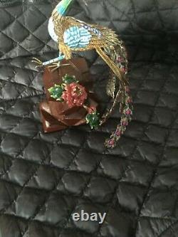 Antique Chinese Silver Gilt Filigree Enamel Peacock Bird Sculpture