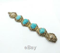 Antique Chinese Silver Gilt Ornate Turquoise Nugget Panel Link Bracelet, 50.2g