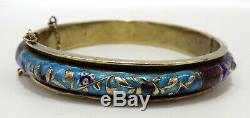 Antique Chinese Silver Gold Gilt Enamel Hinged Bangle Bracelet Signed Beautiful