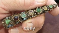 Antique Chinese Silver Gold filligree Finger nail guard Brooch with gem stones