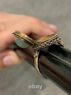 Antique Chinese Silver & Jade Poison Adjustable Ring Gilt Wash Interior