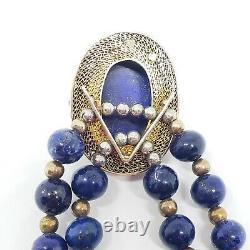 Antique Chinese Silver & Lapis Choker Necklace Export Gilt Filigree Cloisonne