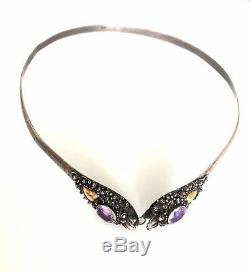 Antique Chinese Sterling Silver & 14ct Gold Amethyst Dragon Collar Necklace