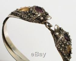 Antique Chinese Sterling Silver Amethyst & Gold Dual Dragon Bracelet Fine Detail