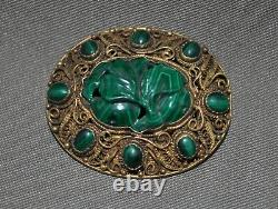 Antique Chinese Sterling Silver Filigree with Gold Wash Carved Malachite Brooch