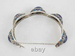 Antique Chinese Sterling Silver Gilt Filigree Enamel Lapis Bracelet