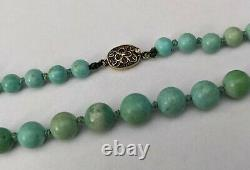 Antique Chinese Turquoise Bead Necklace Silver Gilt Export Clasp