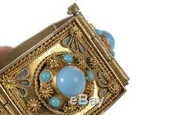 Antique Chinese Turquoise & Gilt Silver Bracelet withFiligree Panels