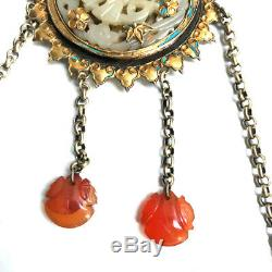 Antique Chinese carved jade pendant set in gilt silver court necklace