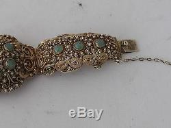 Antique Chinese export art deco gilt silver amazing bracelet Jade inlaid (1010)