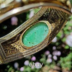 Antique Chinese filigree carved jade gemstone export silver gilt bracelet
