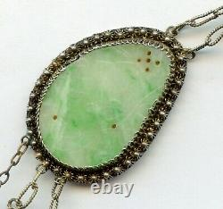 Antique Chinese gold wash silver filigree carved jade & Pink Tourmaline necklace