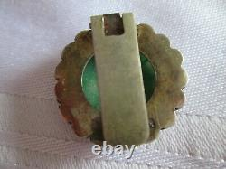 Antique Chinese silver filigree gilt carved Jade clip brooch
