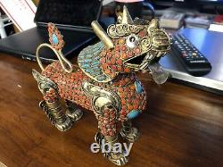 Antique Circa 1920 Chinese Tibetan Gold Washed Silver Articulating Dragon Fu Dog