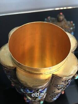 Antique Export Chinese Tea Caddy Sterling Silver Gilt Filigree Finest Enamel