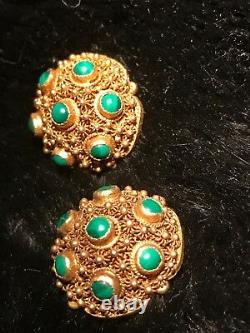 Antique Exquisite Workmanship Chinese Gilt Silver Filigree Malachite Earrings
