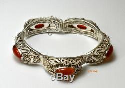 Antique Filigree Bracelet Gilt Sterling Silver Carnelian Vintage Chinese Export