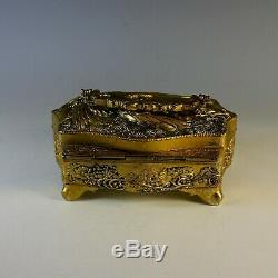 Antique Gilded Silver Plate Chinese Repousse Dresser Box with Handle