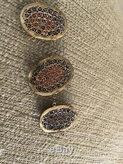 Antique Gilt Chinese Silver Carved Coral Filagree Bracelet Parts For Restoration