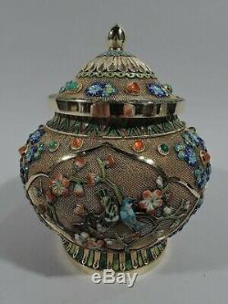 Antique Ginger Jar Antique Covered Urn Vase Chinese Silver Gilt & Enamel