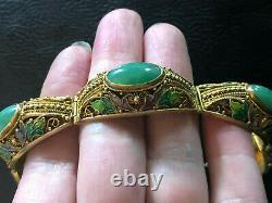 Antique Jade Bracelet Chinese Export Gold Sterling Silver Enamel 34g 925 #1176