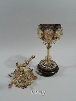 Antique Lanterns Fancy Pair Chinese Silver Gilt Hardstone Enamel C 1920