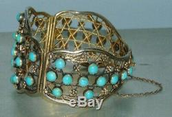 Antique Large Chinese Export Gold Gilded Sterling Silver Turquoise Bracelet