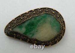 Antique Lot of 3 Chinese Silver Carved Green Jade Jadeite Pin Brooch Gold Washed
