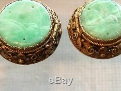 Antique Old Chinese Carved Jade Jadeite Gilded Sterling Silver Earrings, c 1900
