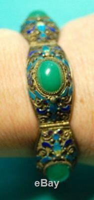 Antique Old Chinese Export Gilt Gold Silver Enamel Apple Jade Jadeite Bracelet