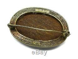 Antique Old Chinese Gilt Gold Silver Cloisonne Enamel Carved Green Jade Brooch