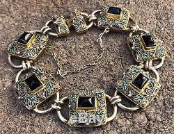 Antique Old Chinese Gilt Gold Silver Enamel Black Onyx Filigree Link Bracelet