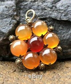Antique Old Chinese Gilt Gold Silver Filigree Carnelian & Agate Pendant