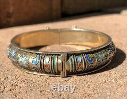 Antique Old Chinese Gilt Silver Multi Color Enamel Floral Hinged Bangle Bracelet