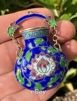 Antique Old Chinese Multi Color Cloisonne Enamel Gilt Silver Lotus Urn Pendant
