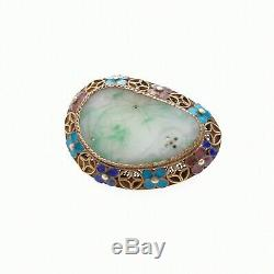 Antique Or Vintage Chinese Jade And Enamel Silver Gilt Brooch