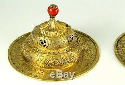 Antique Pair of Gilded Silver Tibetan / Chinese Temple Chimes Coral Red Finials