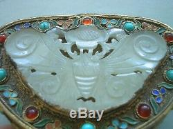 Antique Qing Chinese Gilt Silver Enamel Box White Jade Butterfly Turquoise vase