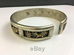 Antique Signed Chinese Silver with Gold Bracelet Immortals & Bats Qing Dynasty