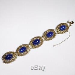 Antique Silver Gilt Chinese Lapis Ornate Bracelet